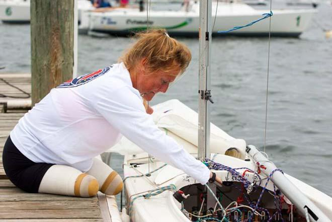 Canadian 2.4mR sailor, Tracy Schmitt, preparing to leave the dock ©  Clagett/Thornton Cohen.