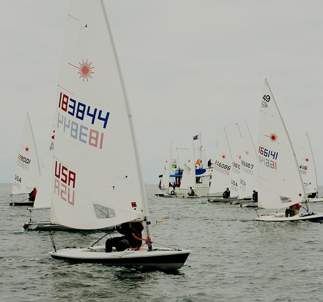 Jonathan Cressy of Balboa YC  goes for pin end of the start line  - ABYC Memorial Day Regatta 2014 © Rich Roberts