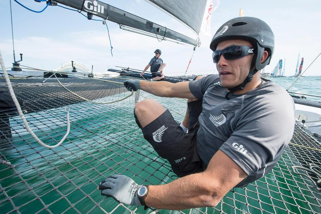 On board the Emirates Team New Zealand Extreme 40 on day three of the Land Rover Extreme Sailing Series regatta in Qingdao, China. 3/5/2014 © Chris Cameron/ETNZ http://www.chriscameron.co.nz