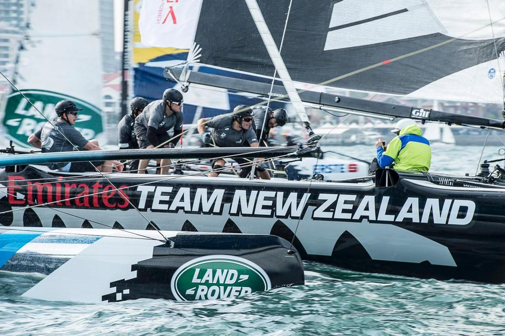 Emirates Team New Zealand on day three of the Land Rover Extreme Sailing Series regatta in Qingdao, China. 3/5/2014 © Chris Cameron/ETNZ http://www.chriscameron.co.nz