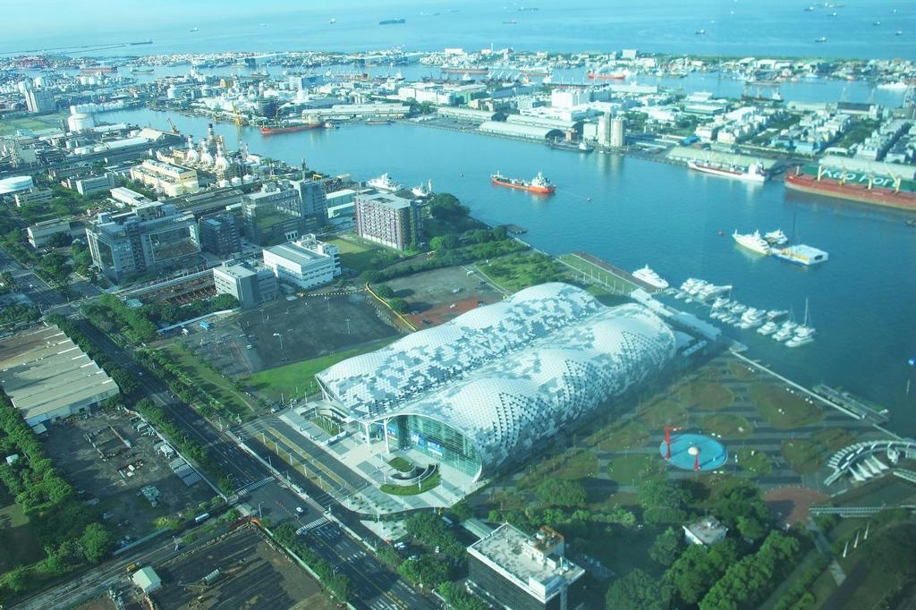 Taiwan International Boat Show 2014 - aerial view of the Big Shed, in-water boats just in front  © Suzy Rayment