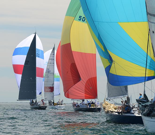 Carina with her red, white and blue spinnaker led her class at the start on Friday.  ©  Talbot Wilson / PPL