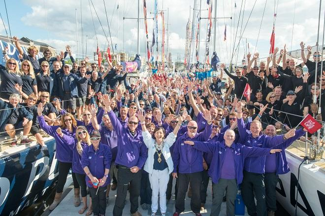 The crew of Derry-Londonderry-Doire and the Mayor Councillor Brenda Stevenson pictured at Foyle Marina as the crews of the Clipper Round the World Yacht Race prepared to slip lines.  © Martin McKeown, Clipper Race