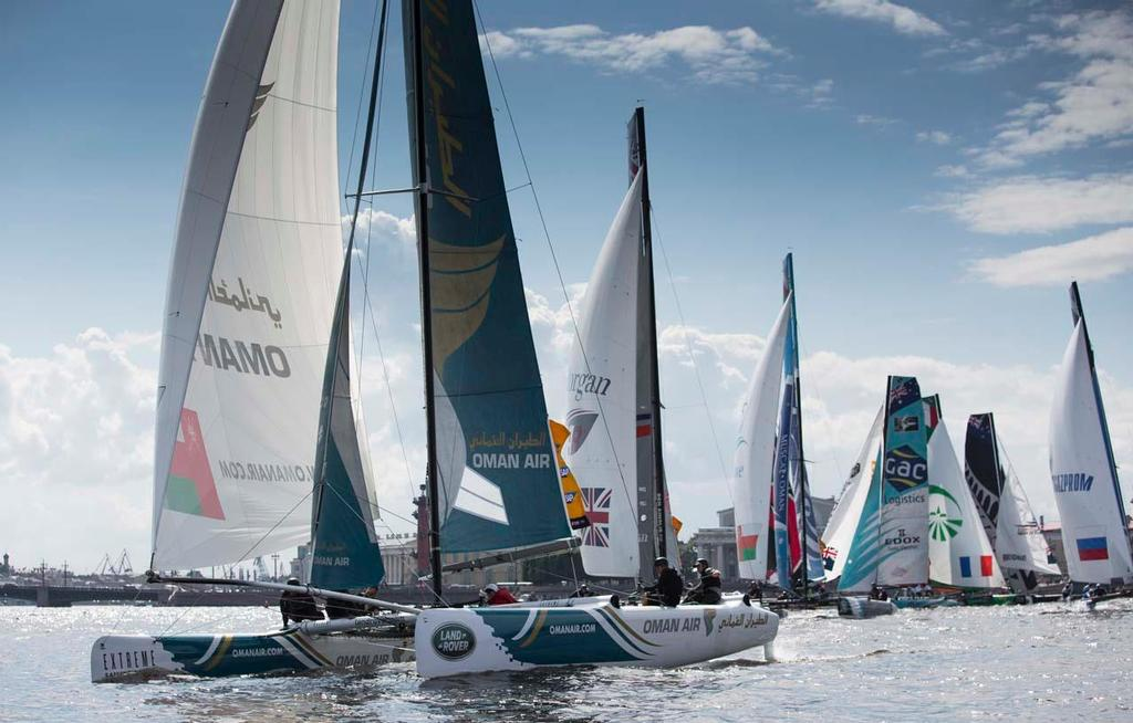 Oman Air were the biggest climbers of the day upgrading their overnight position from ninth to sixth. © Lloyd Images/Extreme Sailing Series
