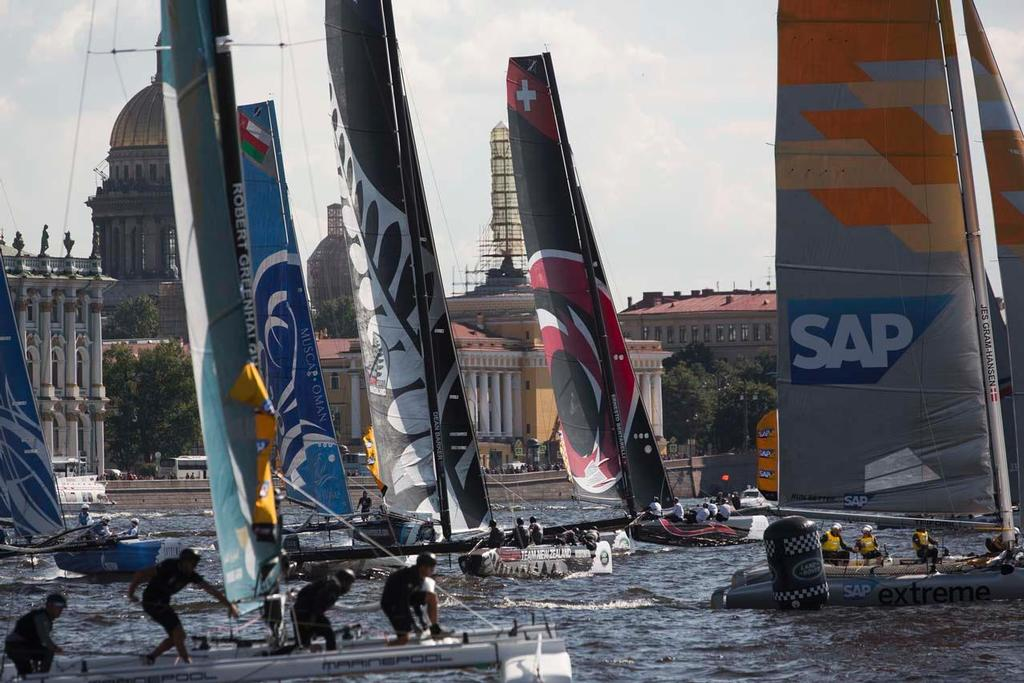 The Extreme 40 fleet battled it out in the Saint Petersburg Stadium on the penultimate day of racing in Russia. © Lloyd Images/Extreme Sailing Series