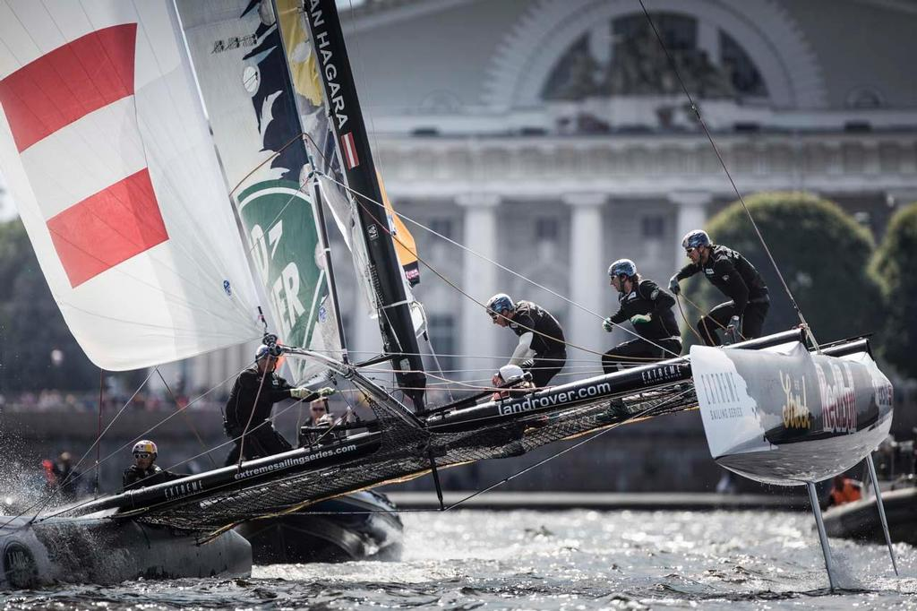 Red Bull Sailing Team fly downwind on the River Neva on the penultimate day. © Lloyd Images/Extreme Sailing Series