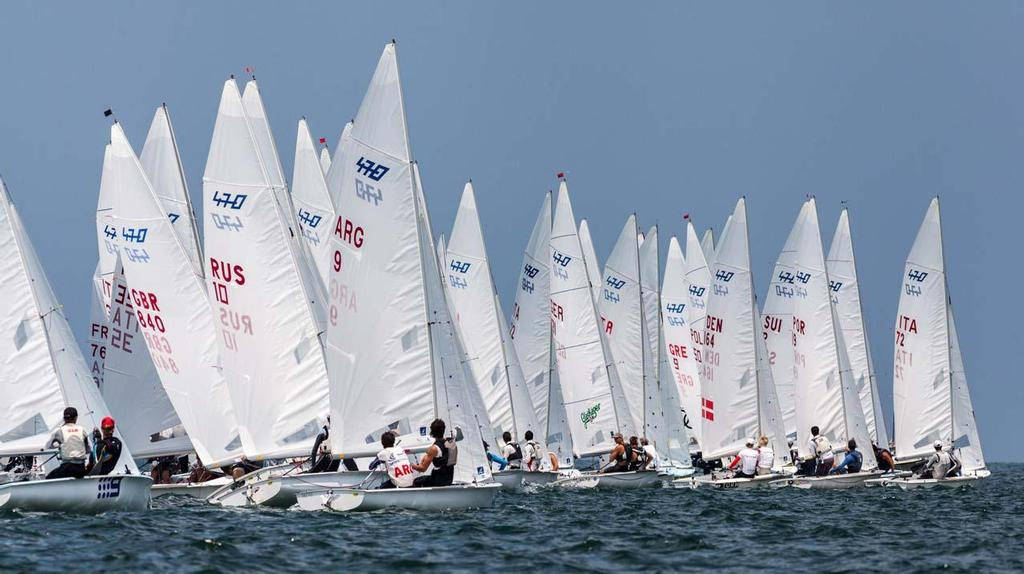 Day 1 - 470 Junior World Championship: 470 Men/Mixed Fleet Upwind © Zerogradinord.it