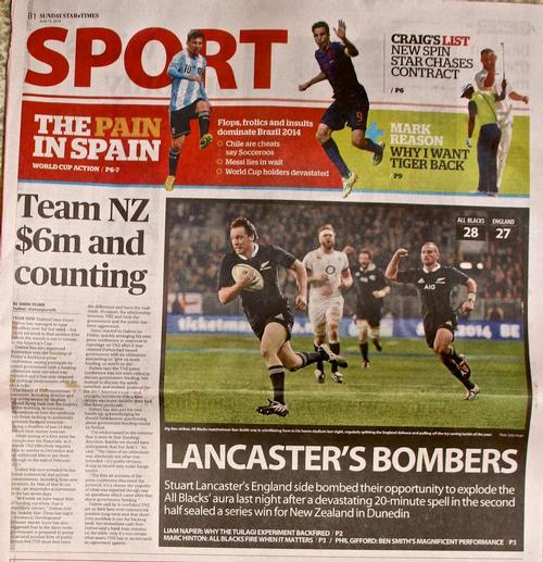 Sunday Star Times front page with Team NZ forcing a rugby story off the front sports page © Richard Gladwell www.photosport.co.nz