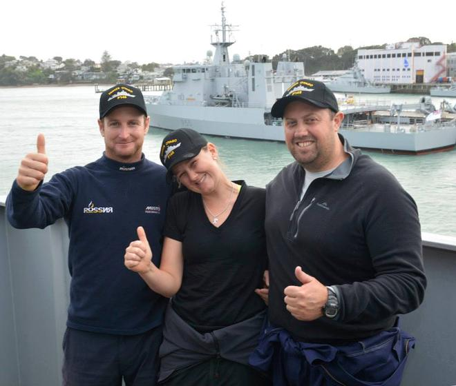 A very happy Django skipper Ben Costello with crewmates Bex Heikema and Andrew Cooke- Django crew arrive ashore at Devonport Naval Base July 9, 2014 © New Zealand Defence Force