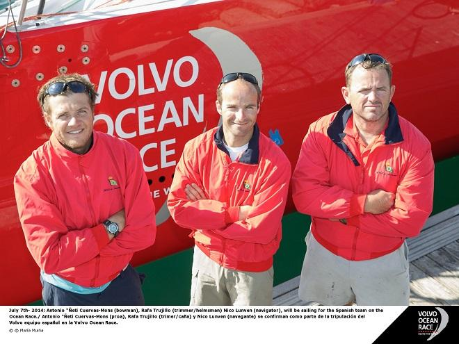 July 7th 2014: Antonio Neti Cuervas-Mons (bowman), Rafa Trujillo (trimmer/helmsman) Nico Lunven (navigator), will be sailing for the Spanish team on the Ocean Race.  © Maria Muina