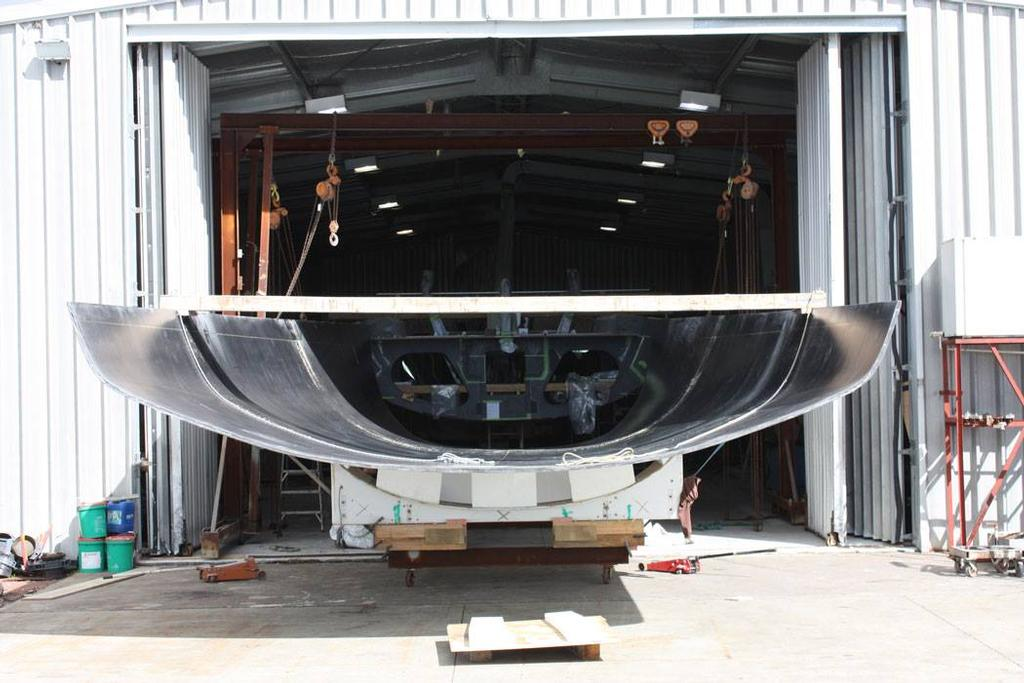 New stern section for the the Bakewell-White designed supermaxi, Rio being remodelled for the Transpac at Cooksons © SW