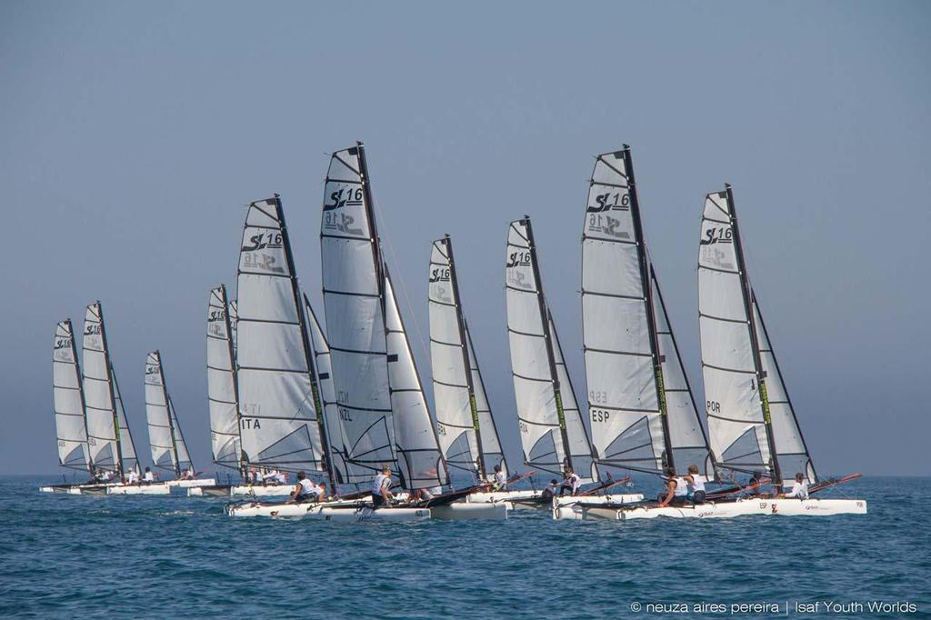 SL16 fleet at the 2014 ISAF Youth Sailing World Championship ©  Neuza Aires Pereira | ISAF Youth Worlds