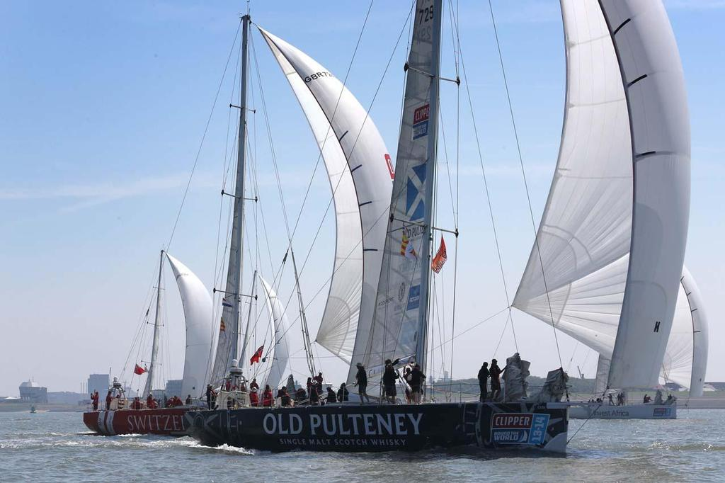 2013-14 Clipper Round the World Yacht Race fleet departs The Netherlands ©  Peter van Aalst