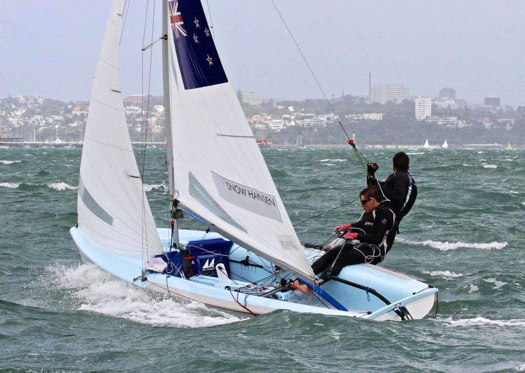 Paul Snow-Hansen and Daniel Wilcox on a big day in Sail Auckland 2013 © Richard Gladwell www.photosport.co.nz