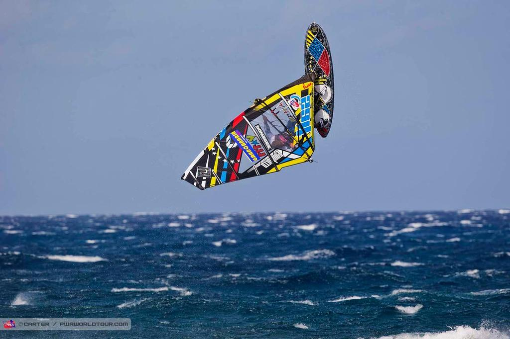 Double forward - 2014 PWA Pozo World Cup / Gran Canaria Wind and Waves Festival photo copyright  Carter/pwaworldtour.com http://www.pwaworldtour.com/ taken at  and featuring the  class