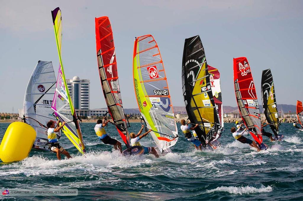 The pack chases - 2014 PWA Awaza World Cup, Day 3 ©  Carter/pwaworldtour.com http://www.pwaworldtour.com/