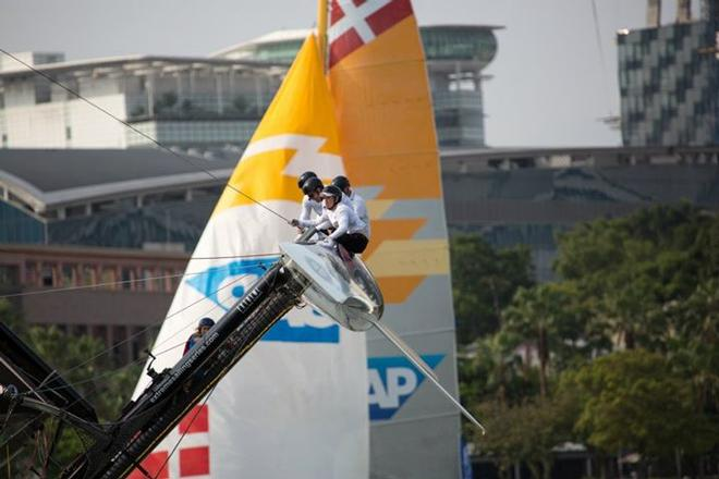 Alinghi narrowly avoided a capsize in Singapore, 2014 - Extreme Sailing Series  © Søren Wiegand Kristensen
