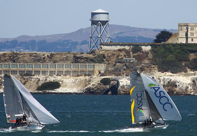 Brett Van Munster' ASCC leads past Alcatraz  - 2014 18' Skiff International Regatta © Rich Roberts