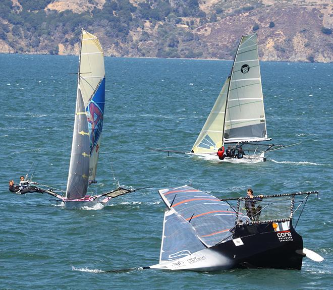 Skip McCormack's 18 flips on first tack after the start of Race four - 2014 18' Skiff International Regatta © Rich Roberts