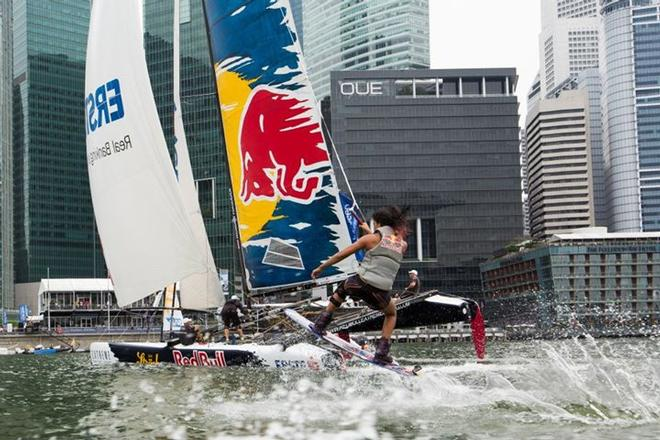 The Extreme Sailing Series 2013. Act2. Singapore. Red Bull Wakeboarder Sasha Christian. - Extreme Sailing Series © Lloyd Images