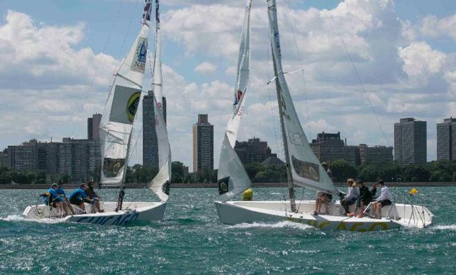 Tight match race action in today's blustery conditions - Chicago Match Race Center's Summer Invitational doubleheader 2014 © Hamish Hardy