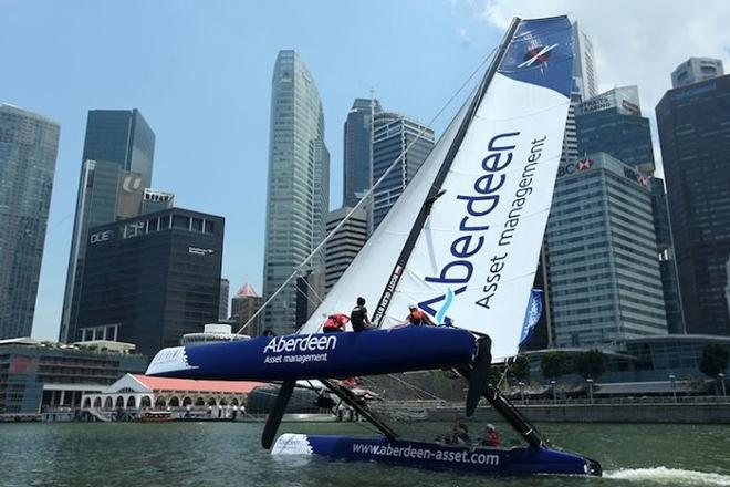 Team Aberdeen Singapore in action ahead of the start of racing in 2013 - Extreme Sailing Series © Getty Images