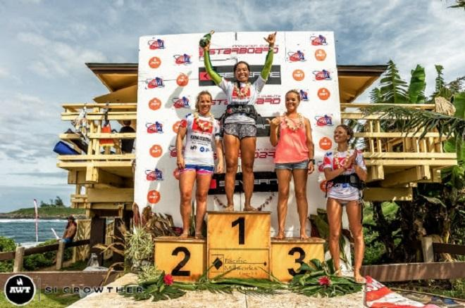 Women's AWT podium. AWT Severne Starboard Aloha Classic 2014.   © Si Crowther / AWT http://americanwindsurfingtour.com/