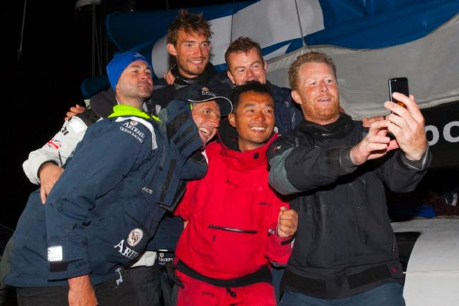 A memorable race calls for a selfie for Artemis-Team Endeavour crew after finishing the Sevenstar Round Britain and Ireland Race - Sevenstar Round Britain and Ireland Race 2014 © Patrick Eden/RORC