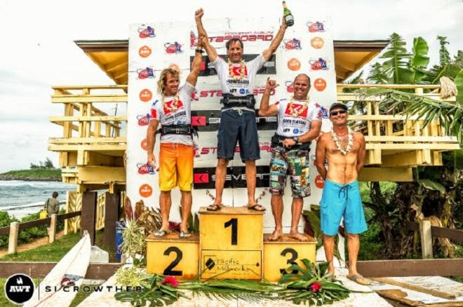 Masters podium. AWT Severne Starboard Aloha Classic 2014.   © Si Crowther / AWT http://americanwindsurfingtour.com/