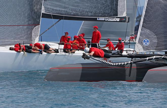Streamlining in light airs! The crew aboard Wilds Oats AC45, Team Beau Geste and Wild Oats XI. © Crosbie Lorimer http://www.crosbielorimer.com