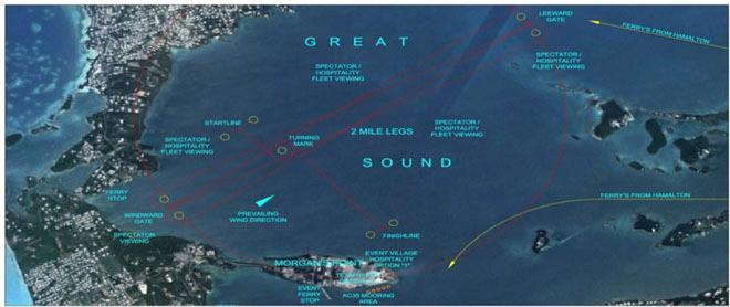 Proposed America's Cup race course area for Bermuda ©  ACEA http://www.americascup.com