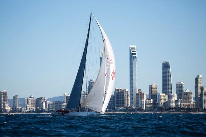 Wild Oats XI aiming at the finish against Gold Coast backdrop. - Land Rover Sydney Gold Coast Yacht Race 2014 © Michael Jennings