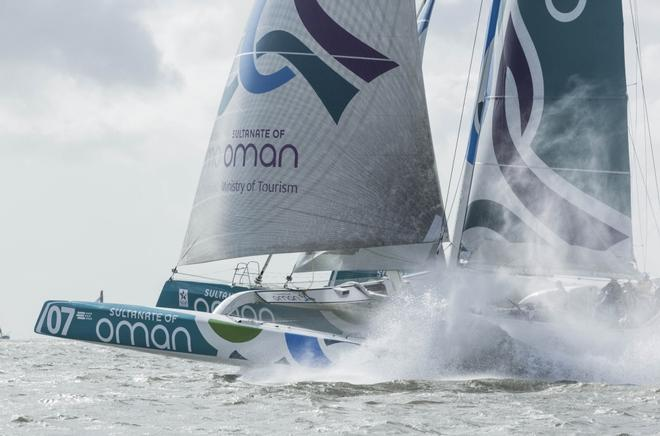 Sultanate of Oman's flagship 70ft trimaran, Musandam-Oman Sail at the start of the Round Britain and Ireland Race © Lloyd Images