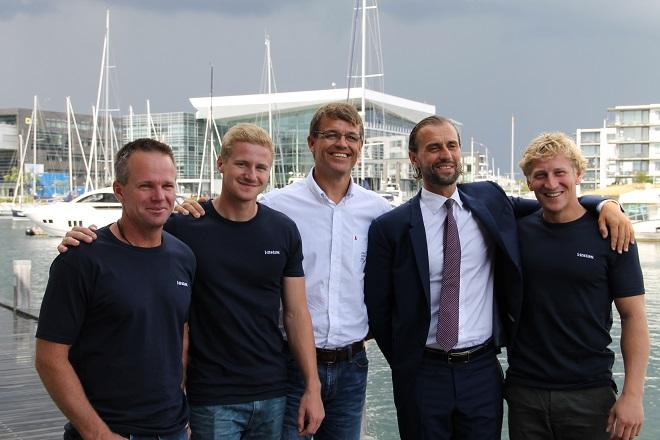 From the left: Chris Nicholson, Nicolai Sehested, VOR CEO Knut Frostad, Vestas CMO Morten Albæk and Peter Wibroe - Volvo Ocean Race 2014-15 © Soren Overup, Sail-World Europe