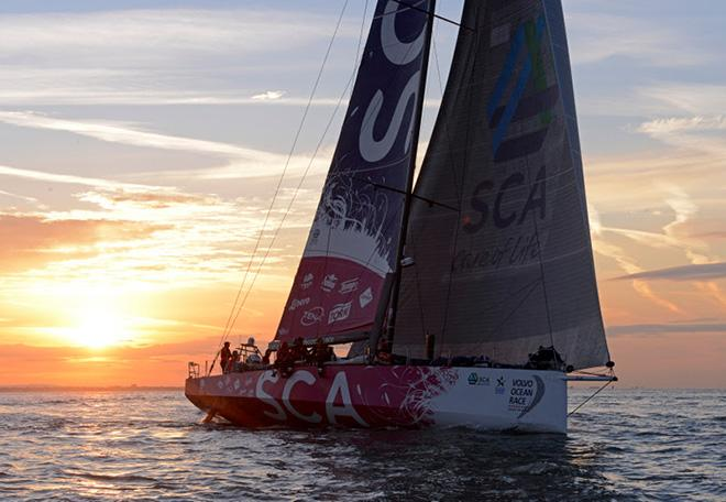 Team SCA at the finish of the Sevenstar Round Britain and Ireland Race © Rick Tomlinson / RORC http://www.rorc.org