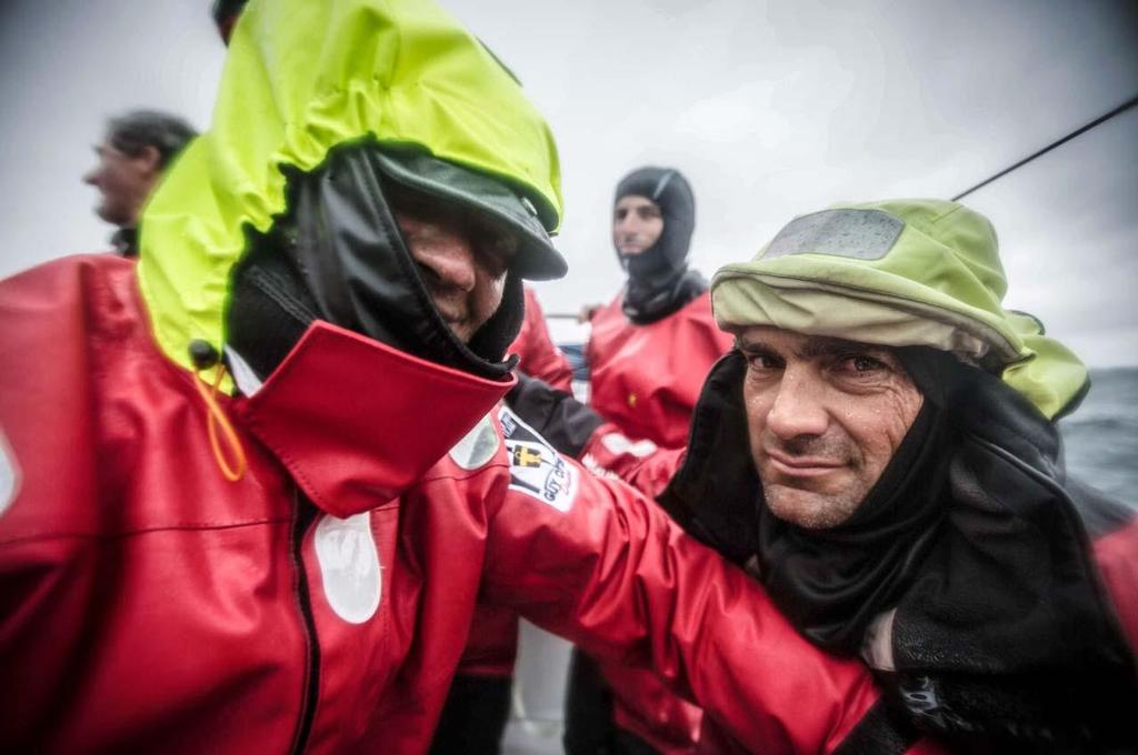 The Spanish Team, skippered by Iker Martinez, second Volvo Ocean 65 to cross the finish line of the Sevenstar Round Britain and Ireland Race. Here, Xabi Fernandez and Antonio Cuervas-Mons. ©  Justin Chisholm / Abu Dhabi Ocean Racing http://www.volvooceanrace.com