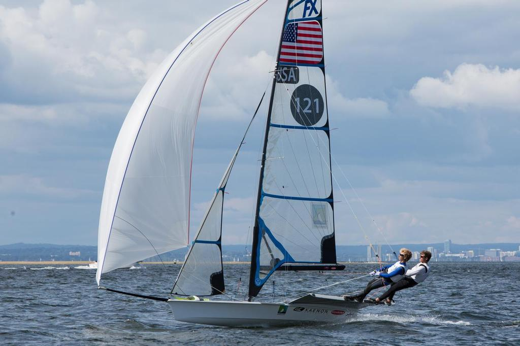 49er FX Wade Waddell and Ian MacDiarmid reaching downwind - 2014 49er, 49er FX, and Nacra 17 National Championship © David Hein