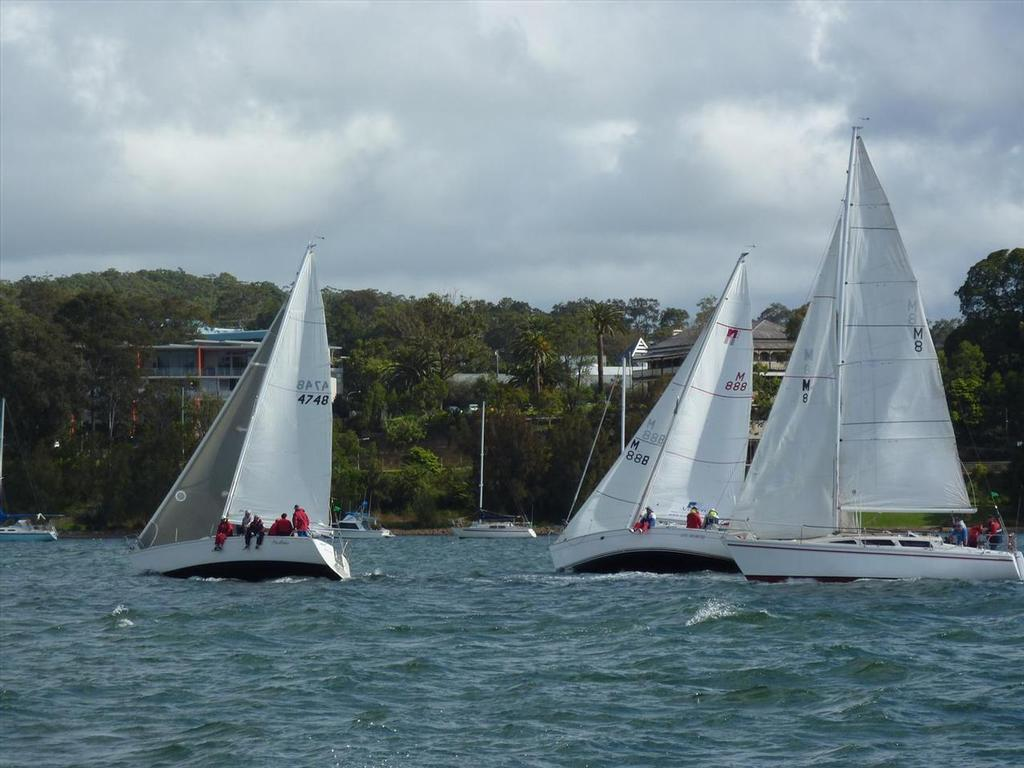 Close racing in race 1 of the last Northshore Nationals at Lake Macquarie © Rod Mackay