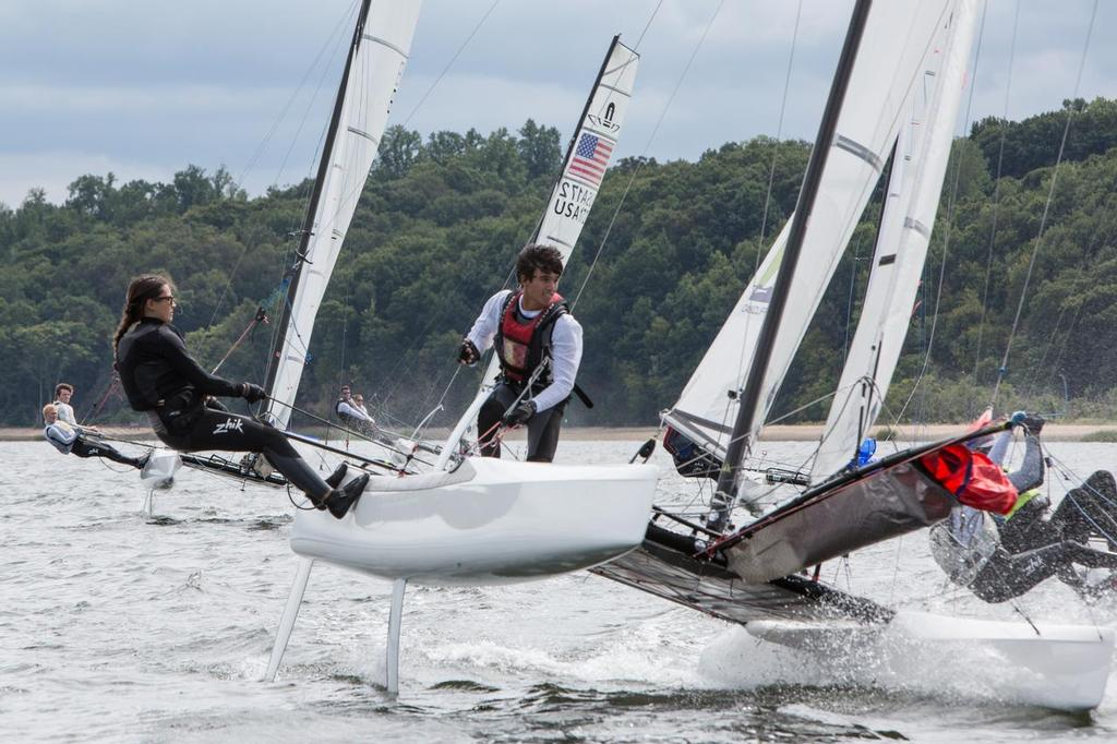 Sister and Brother duo Sophia and Nico Schultz preparing for a mark rounding - 2014 49er, 49er FX, and Nacra 17 National Championship © David Hein
