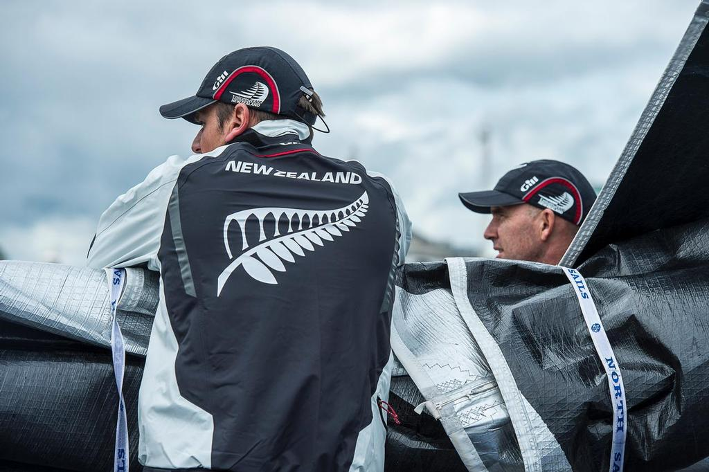 Emirates Team New Zealand Sailors, Dean Barker and Ray Davies survey the race area before practice day for the Cardiff Extreme Sailing Series Regatta. 21/8/2014 © Chris Cameron/ETNZ http://www.chriscameron.co.nz