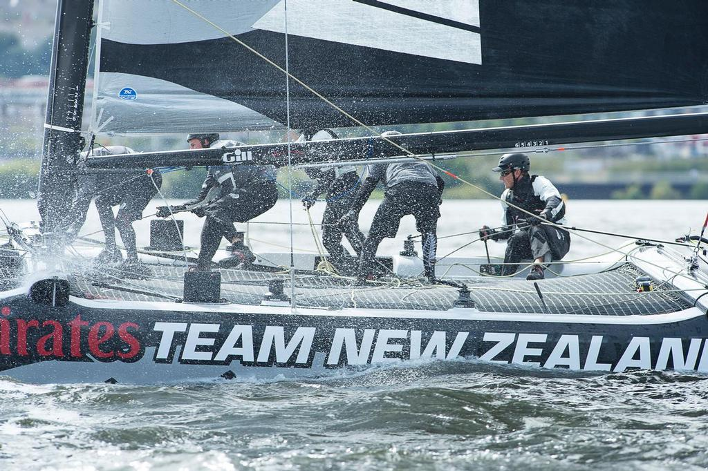 Emirates Team New Zealand practice racing on practice day for the Cardiff Extreme Sailing Series Regatta. 21/8/2014 © Chris Cameron/ETNZ http://www.chriscameron.co.nz