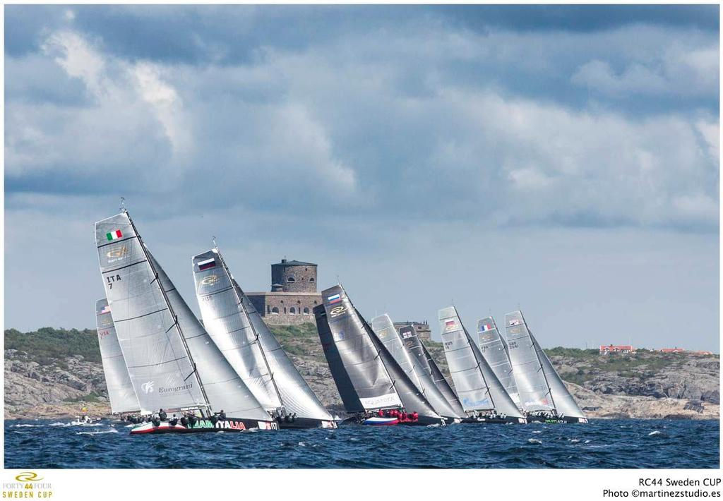 The RC44 fleet finishing in Marstrand harbour © RC44 Class/MartinezStudio.es