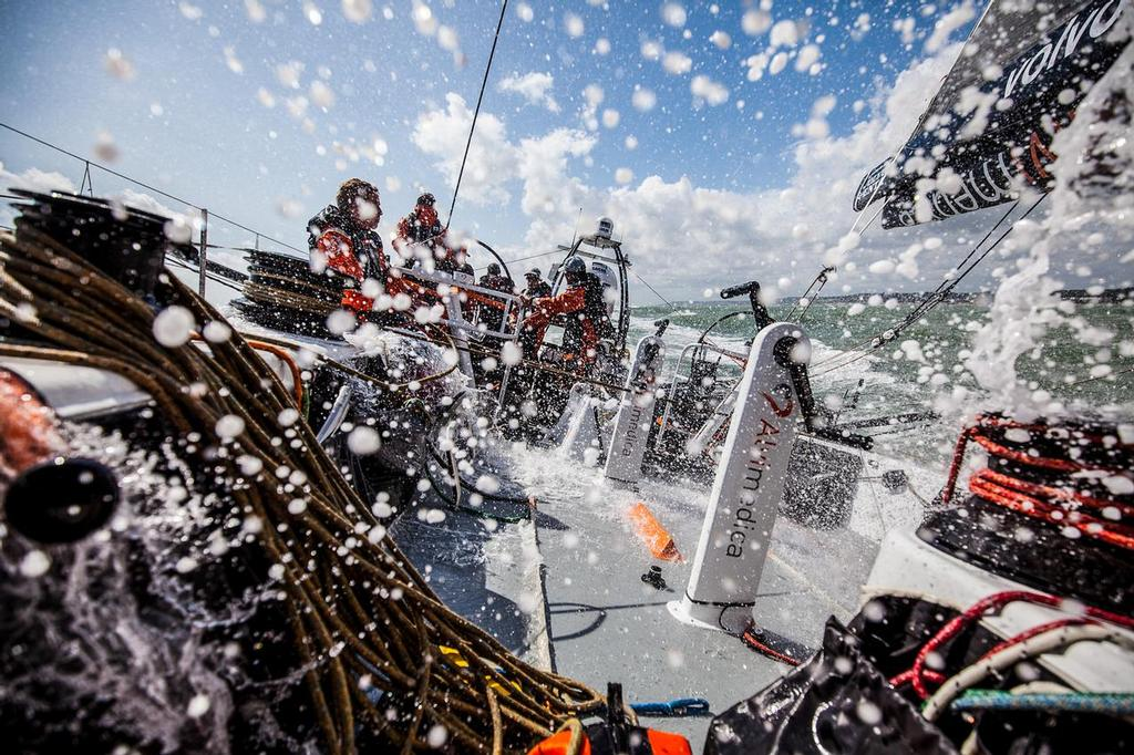 August 11, 2014. Round Britain Island Race Day 1 - OBR content Team Alvimedica: Fast downwind sailing onboard Team Alvimedica as the fleet chases storm Bertha up the eastern coast of England during the first day of the RORC's Round Britain and Ireland Race. ©  Amory Ross / Team Alvimedica