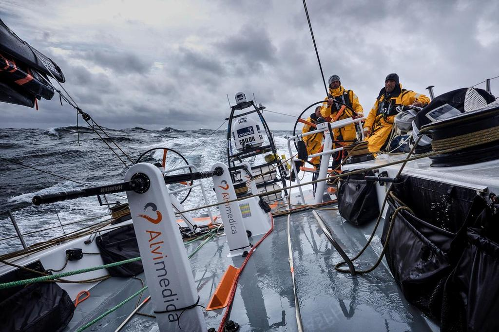 August 12, 2014. Round Britain Island Race Day 2 - OBR content Team Alvimedica: A team-wide shift to survival suits during the first night of the RORC's Round Britain and Ireland Race, as temperatures drop and winds build. ©  Amory Ross / Team Alvimedica
