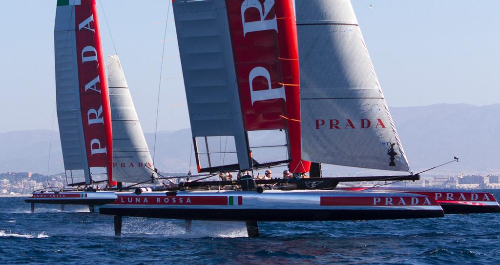 Luna Rossa's two foiling AC45's Piranha and Swordfish foiling off the team's base in Cagliari, Italy - photo © Luna Rossa Challenge 2013 http://www.lunarossachallenge.com/