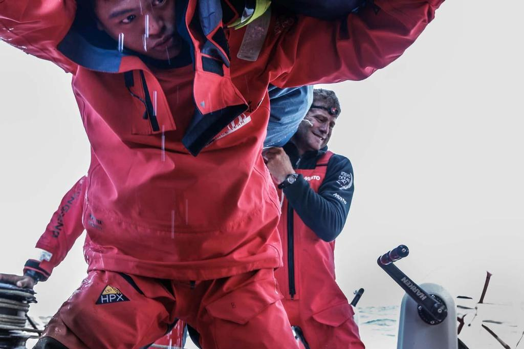 Dongfeng Race Team defending third place during the Round Britain and Ireland Race © Yann Riou / Dongfeng Race Team