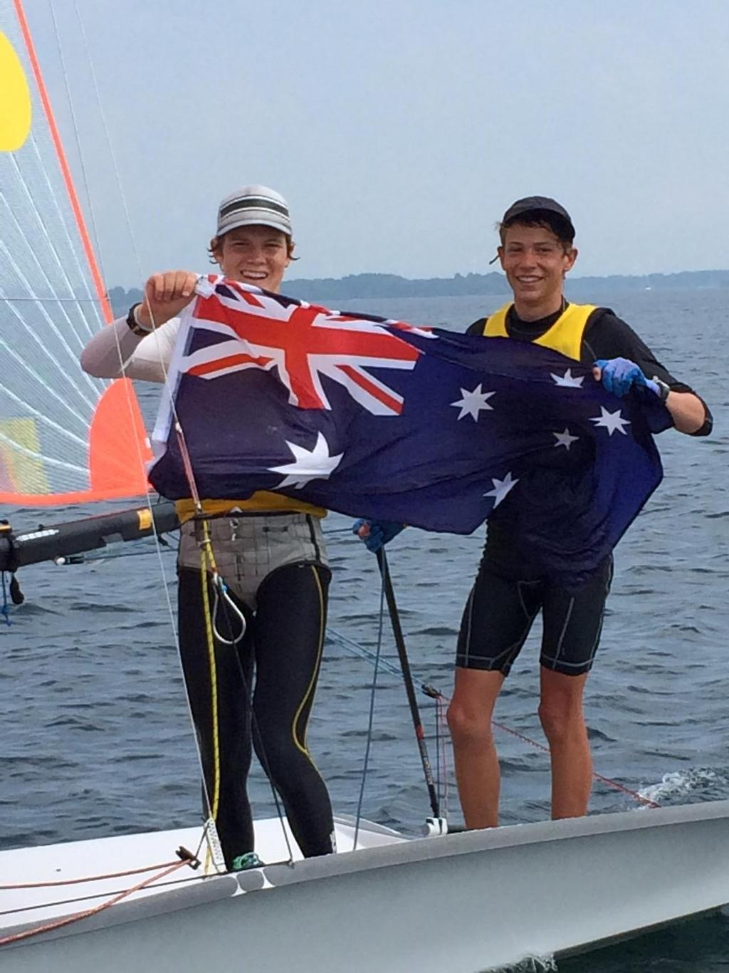 The new World 29er Champions Kurt Hansen and Harry Morton proudly fly the Aussie flag. - World 29er Championships  © Brian Hansen