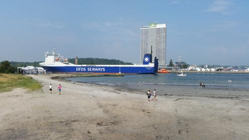Beach, ferry and SpyTower - Day 1, 2014 Open 420 Worlds, Travemunde, GER © Rob Burn
