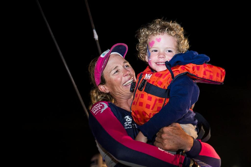 January 27, 2015. Team SCA arrives in Sanya in sixth position, after 23 days of sailing. Carolijn Brouwer meets her family at the pontoon. photo copyright Volvo Ocean Race http://www.volvooceanrace.com taken at  and featuring the  class