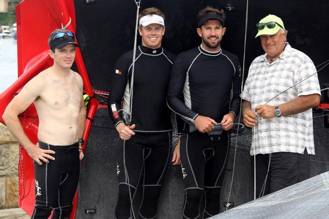 Team Manager Iain Murray with the winning Gotta Love It 7 crew of Seve Jarvin, Sam Newton and Scott Babbage 1 - 2015 JJ Giltinan 18ft Skiff Championship © Frank Quealey /Australian 18 Footers League http://www.18footers.com.au